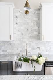 kitchen marble backsplash create an statement with a white brick wall kitchen