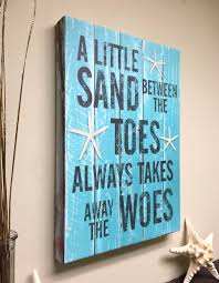 Quotes On Home Decor Beach Decor Quote On Canvas Art A Little Sand Between The Toes