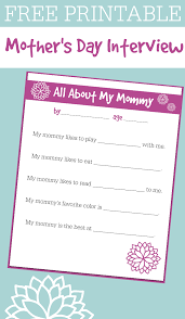 free printable mother u0027s day interview for kids no time for flash