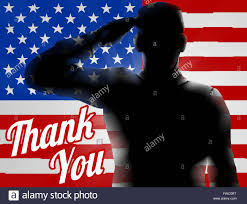 Design Of American Flag A Silhouette Soldier Saluting With American Flag In The Background