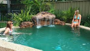 newest pool designs with natural waterfall for small backyard