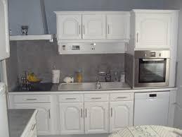 renover cuisine bois cuisine en chene repeinte en gris argileo