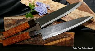 pair of hand forged chef knives with 10 5