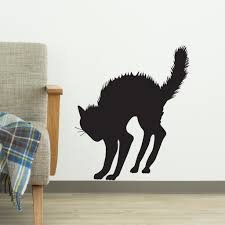 angry arched scary halloween black cat silhouette vinyl wall art