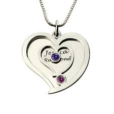 engraved heart necklace personalized two name heart necklace with birthstones couples name
