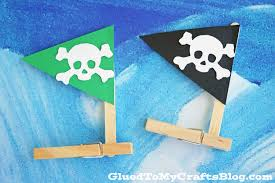 clothespin pirate ships kid craft glued to my crafts