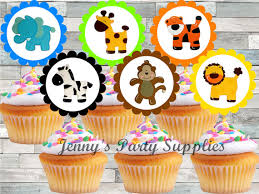 safari cake toppers set of 12 safari cupcake toppers noah s ark cupcake