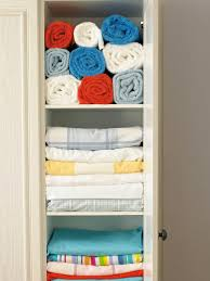 bathroom easy storage solution with linen closet organization and