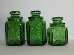 green kitchen canisters sets vintage green glass kitchen canister set wheaton new jersey
