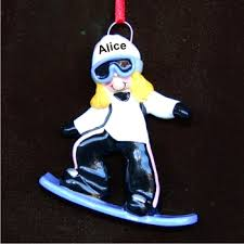 blond snowboard personalized ornaments by