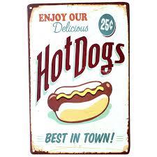 tin home decor metal signs home decor enjoy your hot dog retro tin poster vintage