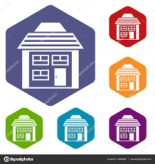 two storey house with sloping roof icons set u2014 stock vector