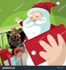 santa claus his reindeer taking selfie stock vector 492004966