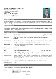 Professional Resume Format For Fresher by 19 Resume For Freshers Normal Job Resume Style Pic Resume