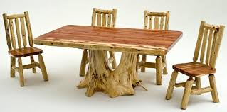 Log Dining Room Table Log Furniture Cedar Log Dining Table With Root Base Custom