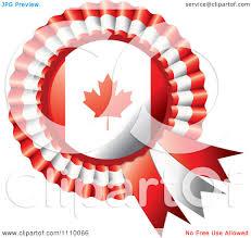 Greek Canadian Flag Clipart Shiny Canadian Flag Rosette Bowknots Medal Award Royalty