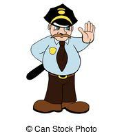 vectors illustration of sketch man policeman with a club on