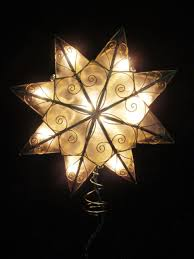 Star Christmas Tree Toppers Lighted - 8 lighted capiz shell 8 point gold star christmas tree topper