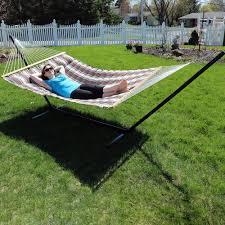 sunnydaze 2 person hammock with spreader bars u0026 pillow