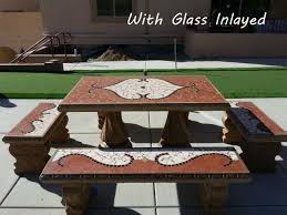 Patio Table And Bench Cement Tables And Benches Patio Furniture Starting At Inland