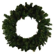 24 pre lit canadian pine artificial wreath multi lights