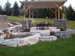 Rock Patio Design Backyard Stone Patio Designs With Exemplary Backyard Steps Ideas