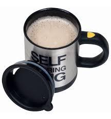 silver mug buddy 15 oz self stirring mug silver black