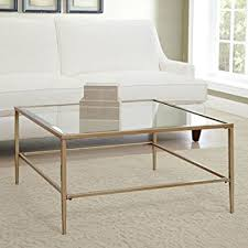 Glass Top Square Coffee Table Nash Square Coffee Table Made Of Glass Top And Gold