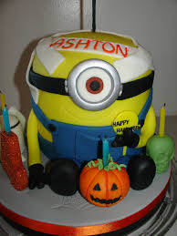 Halloween Birthday Cake by Halloween Minion Shape Fondant Cake Cakecentral Com