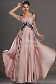 long sleeve black lace appliqued v neck pink chiffon long evening