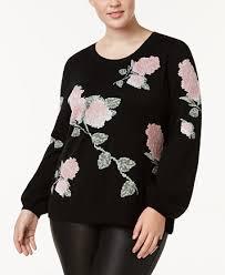 inc international concepts plus size metallic knit floral print