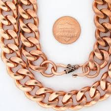 solid copper necklace images Men s heavy duty copper cuban chain set set79 curb link and jpg