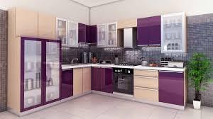 Designer Modular Kitchen - purple and white kitchen design modular kitchen design indian