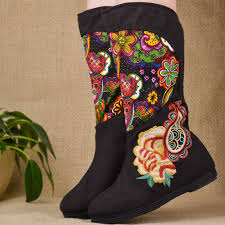 s shoes and boots size 9 folk embroidery boots winter fashion cotton slip on