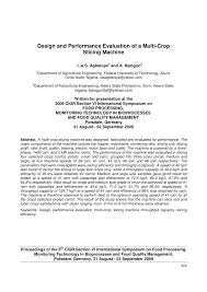 design and performance evaluation of a multi crop slicing machine