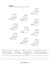 read the sight words worksheet twisty noodle
