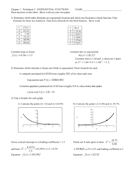 chapter 1 worksheet 2 exponential functions
