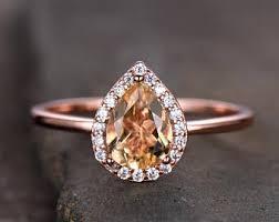 citrine engagement rings citrine halo ring etsy