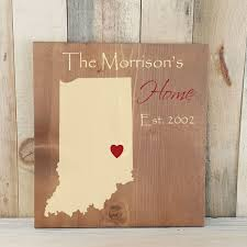 state shaped gifts indiana primitive state shaped family sign personalized state
