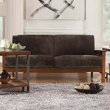 Wooden Sofa Chair With Cushions Captivating Cream Black Teak Wood Foam Mission Style Sofa Soft