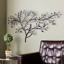 large metal glass tree wall art sculpture multicolor living room 18279204