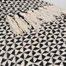 sofaã berwurf weiãÿ jema blue fringed patterned cotton throw 160 160 x and