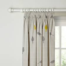Ready Made Children S Curtains Buy John Lewis Bird On A Wire Lined Pencil Pleat Curtains Sulphur