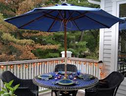 Patio Umbrella Frame Blue Patio Umbrella With Brown Wooden Frame Placed On The Middle