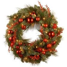 three posts pre lit mixed wreaths with battery operated