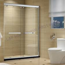 tempered glass double sliding shower door