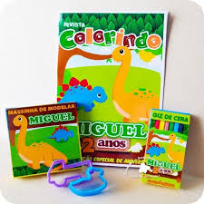 Preferidos Kit Colorir revista e giz Dinossauros Cute com Massinha e Cortadores @WP33