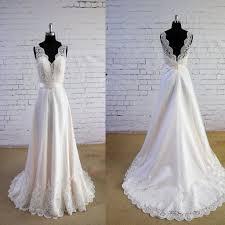 special wheat color wedding dress v neck wedding dress v back lace