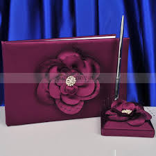 guest book and pen set purple wedding guest book and pen set with rhinestone and