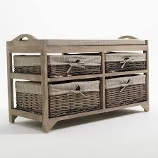 Wicker Storage Bench White Storage Bench With Baskets And Cushion Wood Storage Bench